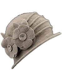 49fd63bd21231 Sombreros Sombrero De Campana Señoras Vintage De Fieltro Diseño Sombrero  Bastante De Flores Gorra Cálida Trilby