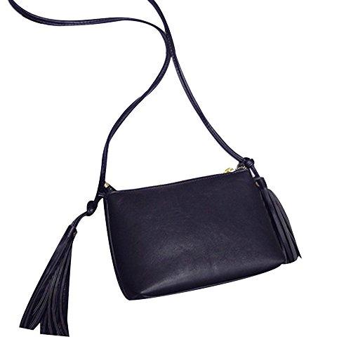 Longra Donne in pelle nappa spalla della borsa (Nero)