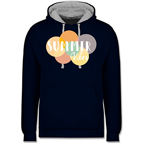 Statement Shirts - Summer Vibes - Kontrast Hoodie Dunkelblau/Grau meliert