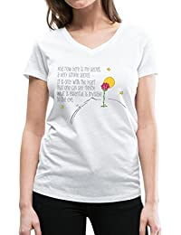 Spreadshirt The Little Prince Quote Heart Sees rightly Women's Organic V-Neck T-Shirt by Stanley & Stella