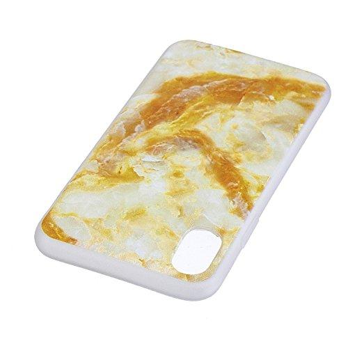 iPhone X Hülle, Voguecase Silikon Schutzhülle / Case / Cover / Hülle / TPU Gel Skin für Apple iPhone X(Weltkarte 01) + Gratis Universal Eingabestift Gelber Marmor 01