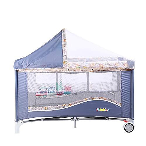 JYXZ Tragbares Babyreisebett, 2 in 1 Design Kinderbett & Activity Play Center,Faltbarer Rahmen mit Matratze, Aufbewahrungstasche, Tragetasche, Blue (Kinderbett Activity Center)