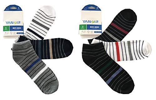 Yanoir 6 Paia Calzini Corti FANTASMINO PARISCARPA Uomo A Righe Calze Sport Righe Colorate