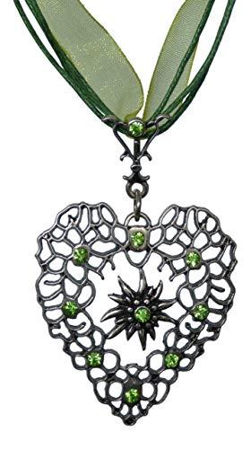 Herz Edelweiss Kette – Antikschmuck Design – durchbrochen – Swarovski Kristalle in...