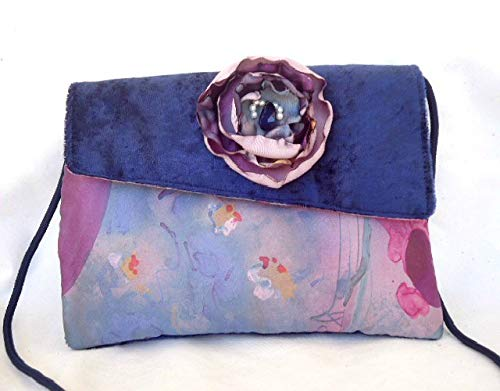 Handmade soft blue velvet boho shoulder bag with a shabby singe flower detail - handmade-bags
