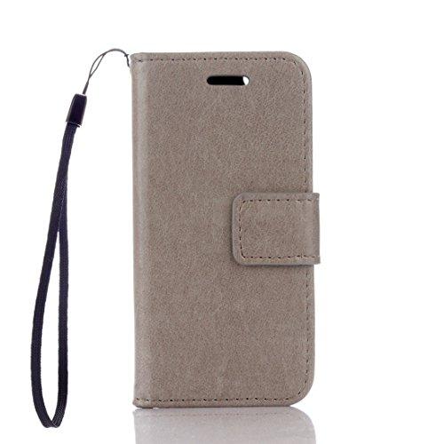 Flip Jordan Farbe (Hozor Apple iPhone 5 / 5S / SE (4,0 Zoll) Hülle - Reine Farbe Flip Case Handyhülle Wallet Etui Wildfarbe Schutzhülle Bookstyle Ledertasche Zubehör [Grau])