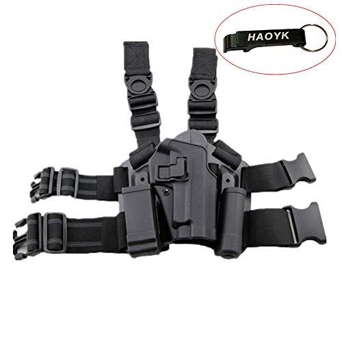 haoYK Einstellbare Tactical Airsoft Pistol Drop Bein Tasche Oberschenkel Rechts Beinholster mit Magazin Taschenlampe Beutel SIG SAUER P226 P228 P229 (Schwarz)