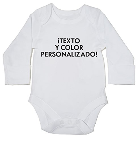 HippoWarehouse Texto y Color Personalizado Body Manga Larga Bodys Pija