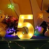Broadroot 3D Englisch Buchstaben und Nummer Form LED Nachtlicht Wandbehang Festzelt Zeichen Alphabet Licht Schlafzimmer Hochzeit Party Leuchte Deko Lampe (5)