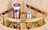 Top Qualität TougMoo Messing doppelte Ebenen Kunst geschnitzte Bad Eckregale Korb bad seifenschale Badewanne Shampoo Regal,Gold einzelne Stufe