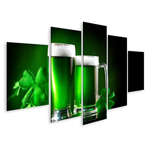 Bild Bilder auf Leinwand St. Patrick's Day Grünes Bier Pint auf dunkelgrünem Hintergrund, verziert mit Kleeblättern Traditionelles irisches Festival Wandbild Poster Leinwandbild SAR (Irische Bilder)