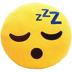 Desire Deluxe Cojín Emoticono Cara Dormir ZZZZ Sonriente - Almohada o Peluche Emoji Cariñoso en Forma de Emoticon Cara Dormir ZZZZ 100% de Satisfacción o Devolución del Dinero.