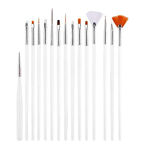 Hilai 15PCS Acrílico Nail Art Painting Brush Set