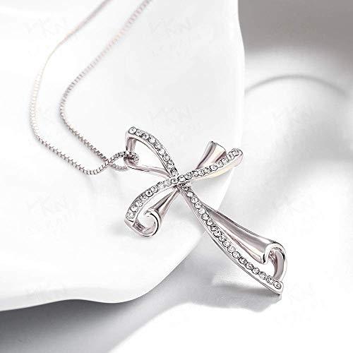 (Frauen Halsketten HOME europäischer und amerikanischer Popstar Kreuz Halskette Großhandel voller Diamantschmuck (Farbe: Rotgold) Schmuck Geschenke für Frauen Neck Lace (Farbe : White Gold))