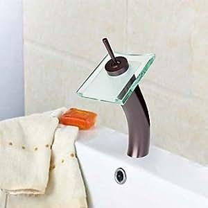 laiton antique orbe cascade robinet lavabo noir + vert transparent