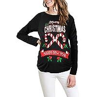 HWTOP Sweatshirts Hoodies Damen Oberteil Hemd T-Shirt Pullover Locker Weihnachtsmann Brief Drucken Sport Freizeit Premium Kleidung Langarmshirt Bluse Shirt Frauen Pulli Tops Sweater