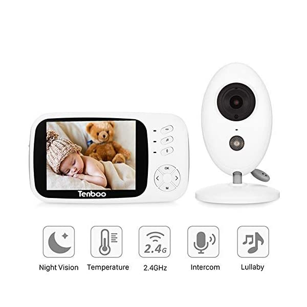 "Tenboo Baby Monitor with Camera Video Baby Monitor Wireless 3.2"" LCD Digital Screen for Signal Transmission Two-Way Talk Support Night Vision Voice Activation Temperature Monitoring Lullabies Tenboo 🎅2.4 GHz Wireless Baby Monitor is the best assistant for parents:safe technology with frequency-hopping provides a private, protected link unlike IP cameras that can be accessed via the Internet. Not restricted by Wi-fi. VOX mode automatically switches the display to ""sleep mode"" to save battery power. The unit reactivates automatically as soon as it makes a noise in the nursery, especially when the baby is crying, the display will change from dark to light 🎅Safe Baby Monitor: Infrared night vision The baby unit of the baby monitor has a calming night light, so that you can keep an eye on your baby even at night, without disturbing it during sleep 🎅Video Baby Monitor Security: 3.2 ""color TFT LCD screen and excellent quality, an ideal choice as a gift for new parents, has 320 * 240 pixels and gives you the ability to clearly monitor your baby. Before using the monitor (with battery) should be fully charged and the camera (without battery) to be operated only with power cord when using the baby monitor for the first time, like the other baby monitors on the market. 1"