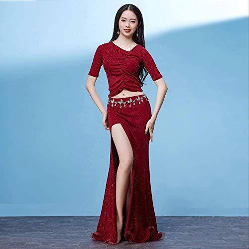 Klmwddpwy danza del ventre abbigliamento primavera nuove donne abiti da ballo mezze maniche elastico irregolare collo danza del ventre gonne lunghe (con pantaloncini) m rosso scuro