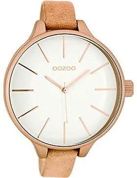 Oozoo Damenuhr mit Lederband 45 MM Weiss/Pinkgrau C8056