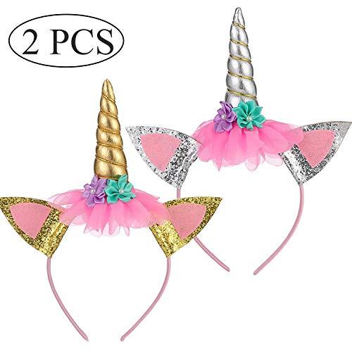 Ouinne 2 Unidades Unicornio Cuerno Diadema, Unicornio Diadema Cumpleaños Flor para Niños Adultos Traje de Cosplay, Decoración del Partido