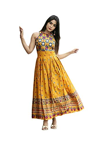 Lovace Women's Rayon Kurtis (ACK7521, Yellow, Medium)