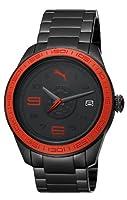PUMA Motorsport PU102971002 - Reloj analógico de cuarzo unisex con correa de acero inoxidable, color negro de Puma