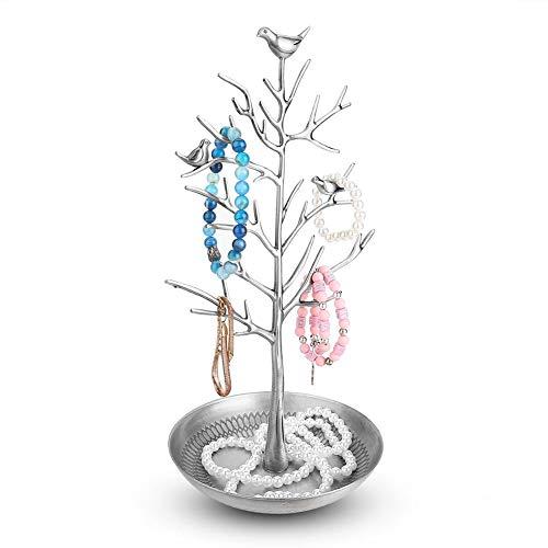 Expositor para joyas, Soporte de pendientes anillos pulseras organizador para joyería diseño de árbol(astilla antigua)