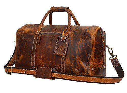 Rustic Town groß Leder Reisetasche - Carry On Vintage Umhängetasche Seesack Weekender Tasche für Herren und Damen (Braun)