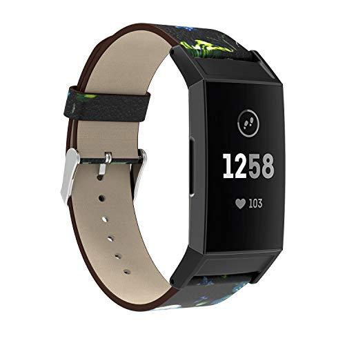 Chainfo Schnellverschluß Uhrenarmbänder kompatibel mit Fitbit Charge 3 - Leder Armbänder für Herren und Damen im eleganten Stil für Fitbit Charge 3 (Multicolor 103)