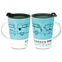 VW Camper Ceramic Travel Mug With Lid, Type 2 by Elgate
