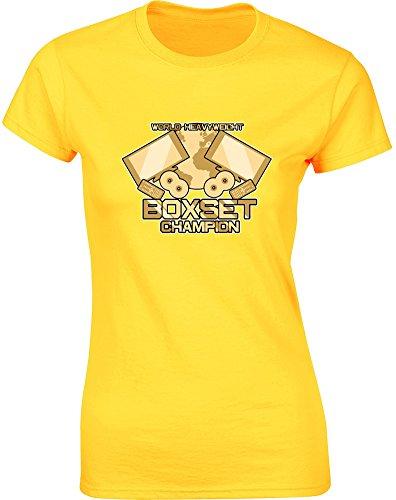 World Heavyweight Boxset Champion, Gedruckt Frauen T-Shirt - Gänseblümchen-Gelb/Transfer L = 87-91cm (American Heavyweight T-shirt)