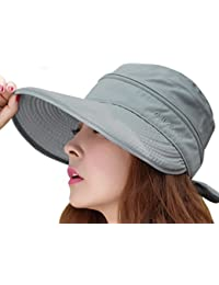 Mujer elegante ala ancha visera Anti-UV Protección Solar 2en 1combinado Sol de Verano Gorra ligero de exterior transpirable playa Golf Tenis Traveler gorro Gris gris Talla:talla única