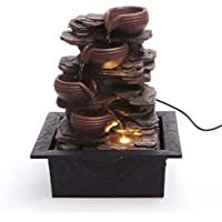 Cascading Bowls on Rocks Formation Indoor Water Fountain with LED Light | Size 21 * 17.5 * 25 Cm | 3 Pin UK Plug Included |