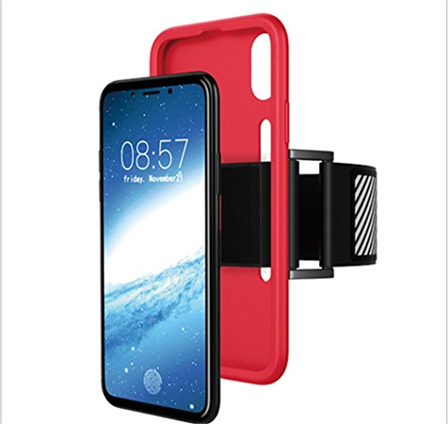 Uniqstore iPhone X Hülle, Easy Fitting Sport Running Armband mit Premium Flexible Case Combo für Apple iPhone X Schwarz Rot