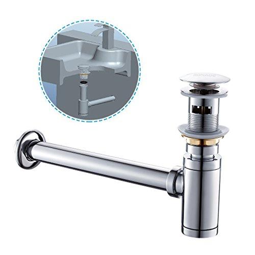 Chrom Pop-up (BONADE Set Siphon + Pop Up Ablaufventil mit Überlauf Waschbecken Ablauf Ablaufgarnitur Push-Up Abfluss Ventil für Waschbecken Waschtisch Chrom)