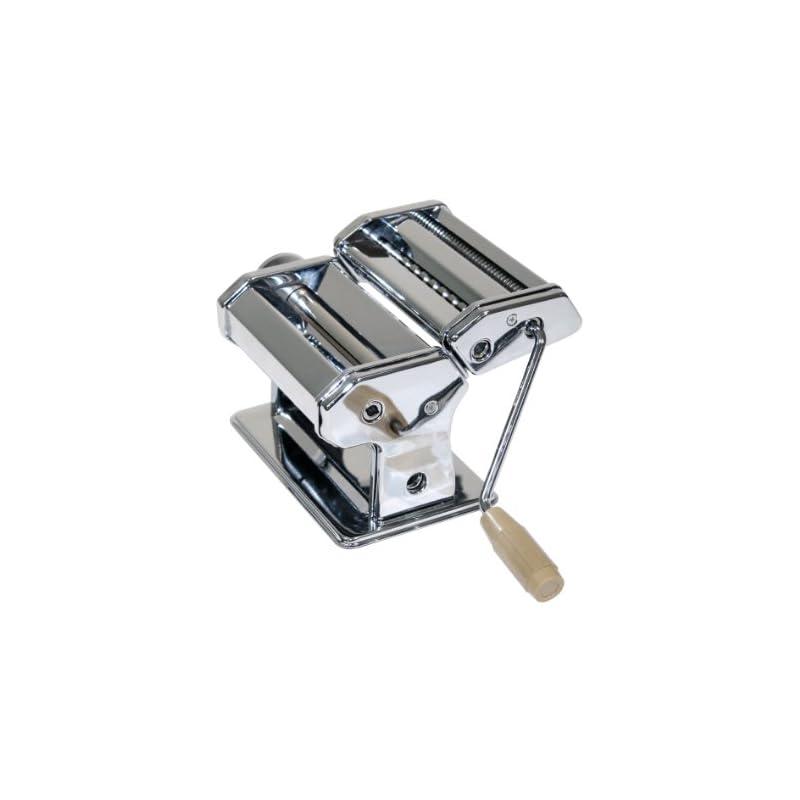 Top Hit 224773 Nudelmaschine Metal Verchromt 145 Cm Breit Mit 3 Walzen Fr Spaghettie Bandnudeln Oder Lasagneplatten Mit Kurbel Und Klemmbgel