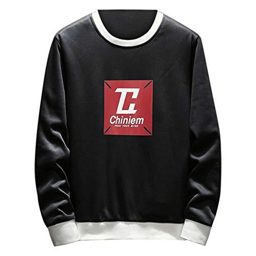 Xmiral Herren Top Sweatshirt Langarm Hemdkragen Persönlichkeit Brief gedruckt Pullover Bluse(XL,Schwarz 1)