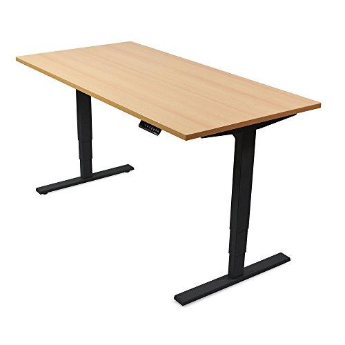 Behandlung Fall (Ergotopia® Elektrisch höhenverstellbarer Schreibtisch | 5 Jahre Garantie | Ergonomischer Steh-Sitz Tisch mit Memory Funktion | Beugt Rückenschmerzen vor & Macht produktiver (160x80 cm, Buche, S))