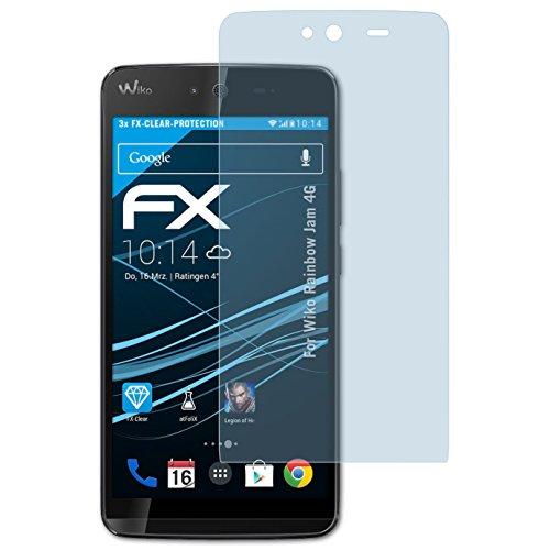 atFolix Schutzfolie kompatibel mit Wiko Rainbow Jam 4G Folie, ultraklare FX Bildschirmschutzfolie (3X)