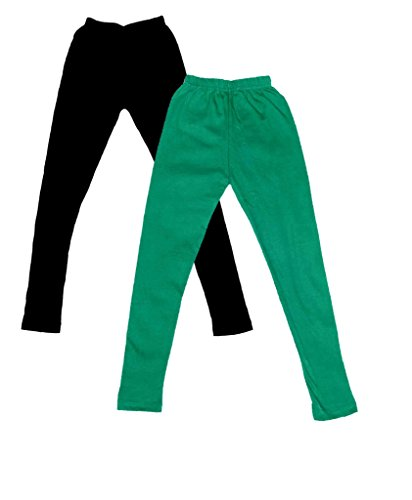 IndiWeaves Girls Super Soft Full Ankle Length Cotton Lycra Leggings (Pack of 2)_Black::Green_4-5 Years  available at amazon for Rs.299