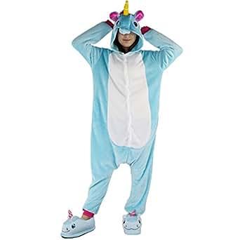Pigiama Unicorno Adulto - Dizoe Animali Kigurumi Carnevale Cosplay Onesies per Donna Uomo, Blu, S (altezza 151-159 cm)