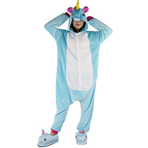 Tier Schlafanzug Erwachsene Pyjama Einhorn Schlafanzug mit Reißverschluss Tierkostüme Jumpsuit Overall Onesie Halloween Karneval Cosplay Kostüm - (Erwachsene Günstige Für Kostüme Belle)