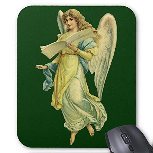 Tappetino per mouse in gomma antiscivolo rettangolare per computer portatili (20 x 24 cm) - Angelo di Natale vittoriano Gloria in Excelsis Deo