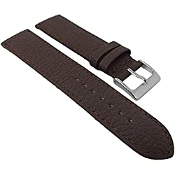 Herzog calf Leather watch strap 22 mm Brown or Black Padded Strong | Replacement Band 20 mm, Width 20 mm, Clasp Silver Bridge, Color: Brown