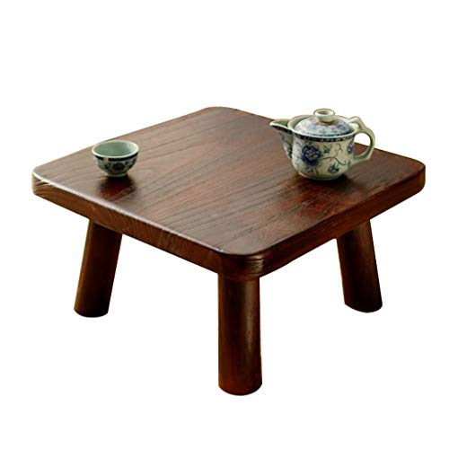 Tables Basse De Salon Basse en Bois en Tatami Simple Basse Carrée en Baie Vitrée Brun De Plate-Forme D'ordinateur Basses (Color : Brown, Size : 40 * 40 * 22cm)