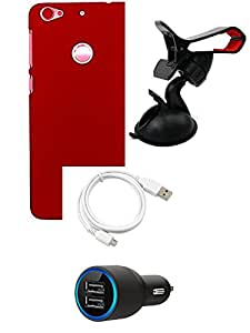 NIROSHA Cover Case Car Charger USB Cable Mobile Holder for LETV 1S - Combo