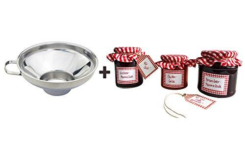 Einmach-Etiketten-Set mit Glasdeckchen und Anhängern + Marmeladentrichter, Einmachtrichter aus Edelstahl