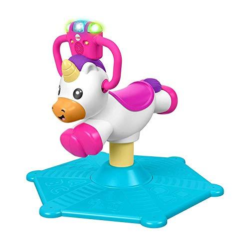 Fisher-Price Unicornio de Rebote y Giro, Juguete Musical para Montar, Multicolor (Mattel GHY50)