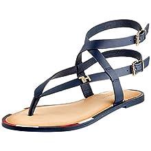 Tommy Hilfiger Women's Feminine Elastic Flat Sandal Flip Flops, Blue (Sport Navy Db9), 6.5 UK