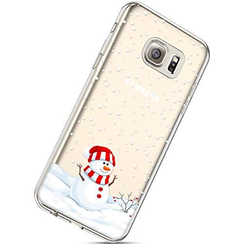 Handytasche Samsung Galaxy S6 Crystal Clear Durchsichtige Hülle Ultradünn Transparent Handyhüllen TPU Bumper Case Silikon Hülle Cover,Schneemann